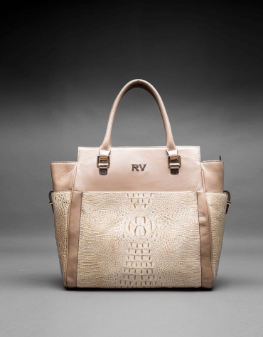 Smooth leather Patrick bag with embossed alligator