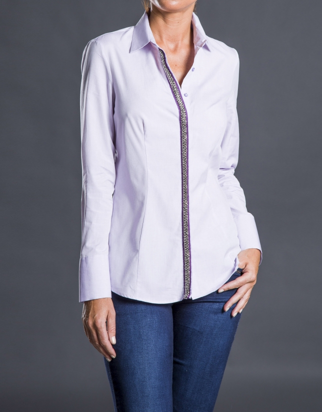 Purple shirt with trim