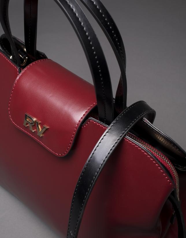 Stiff leather, black and burgundy Ryan bag