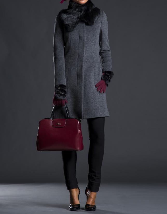 Satchel Ryan cuir rigide bordeaux combiné noir