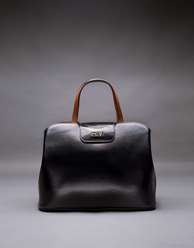 Satchel Ryan cuir rigide noir combiné marron