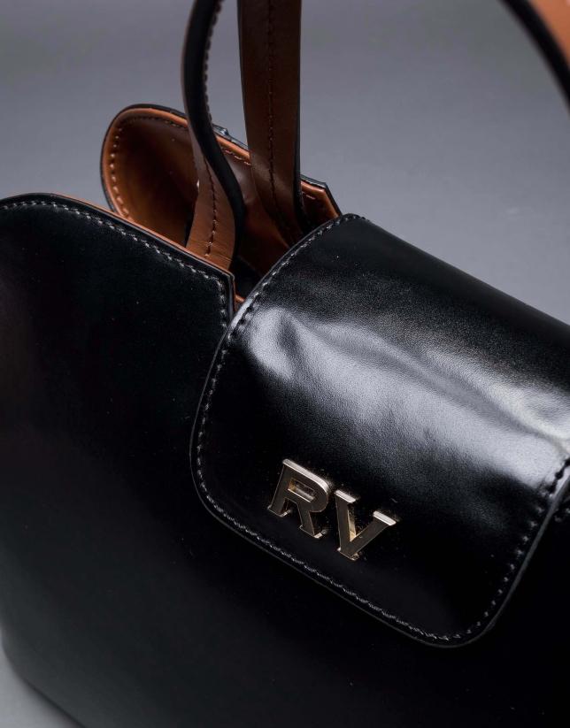 Satchel Ryan cuir rigide noir combiné marron