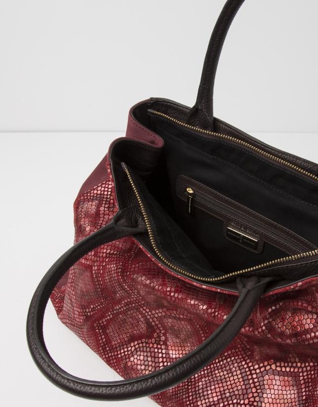 Bolso satchel estampado pitón