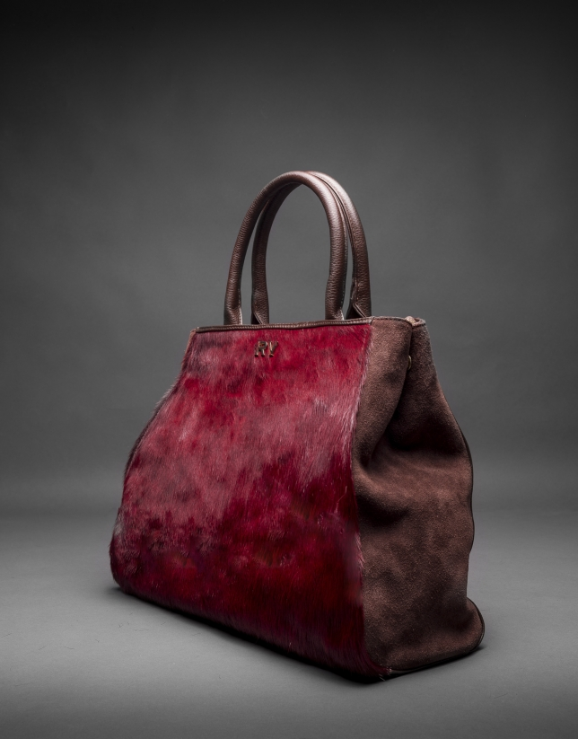 Justin bag with  Burgundy horsehair combined with brown leather and suede