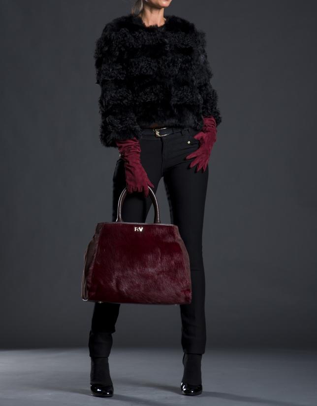 Shopping Justin bordeaux fourrure poulain combinée cuir et daim marron