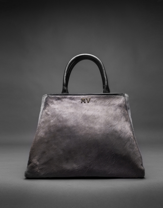 Justin bag with gray horsehair combined with black suede and leather