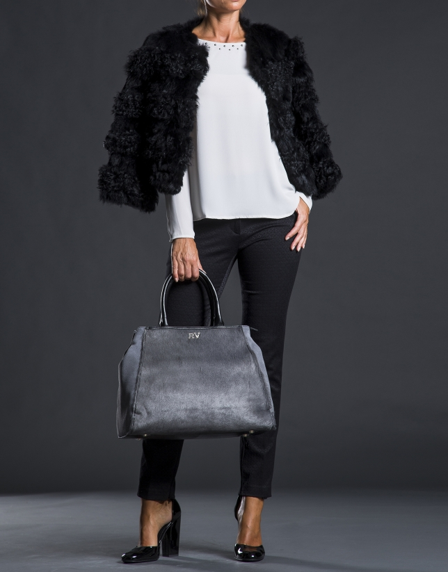 Shopping Justin gris fourrure poulain combinée cuir et daim noir