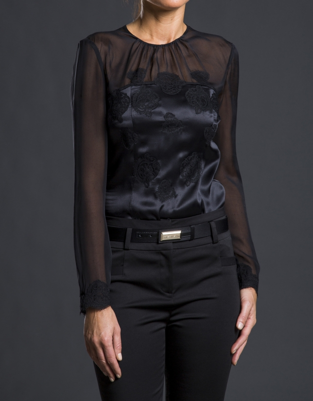 Black satin and lace blouse