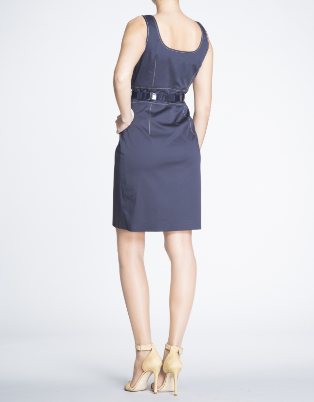 Navy blue cotton dress with slits