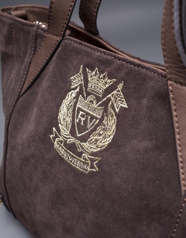 Bolso Ashton en en ante marrón y escudo RV bordado en lurex oro claro