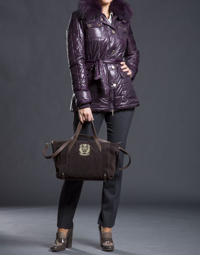 Brown suede Ashton bag with RV shield embroidered in light gold lurex