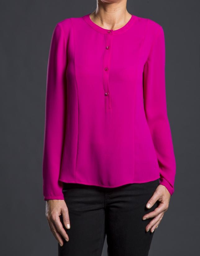 Aubergine crew neck blouse
