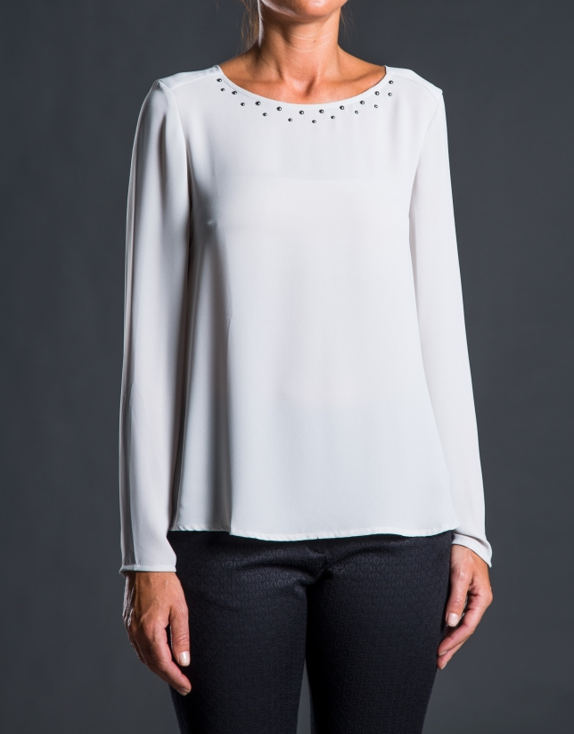 Gray crew neck blouse