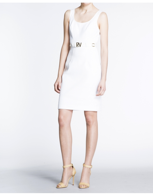 White pique dress with slits
