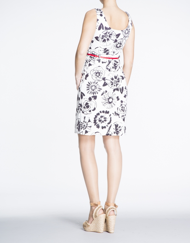 Black and white floral print dress with slits