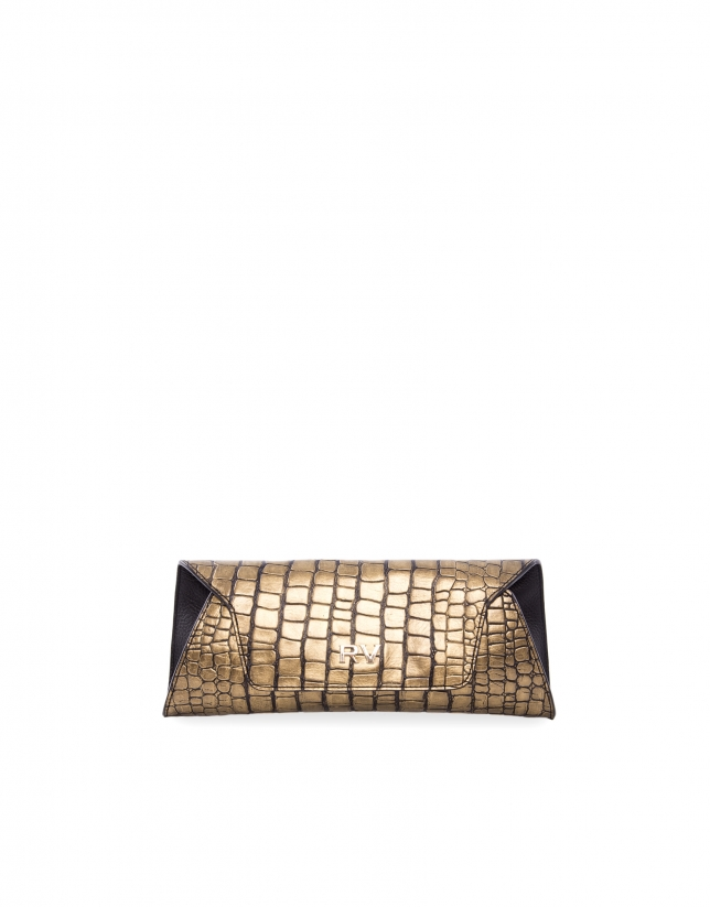 Bella Bronze metallic alligator embossed bag