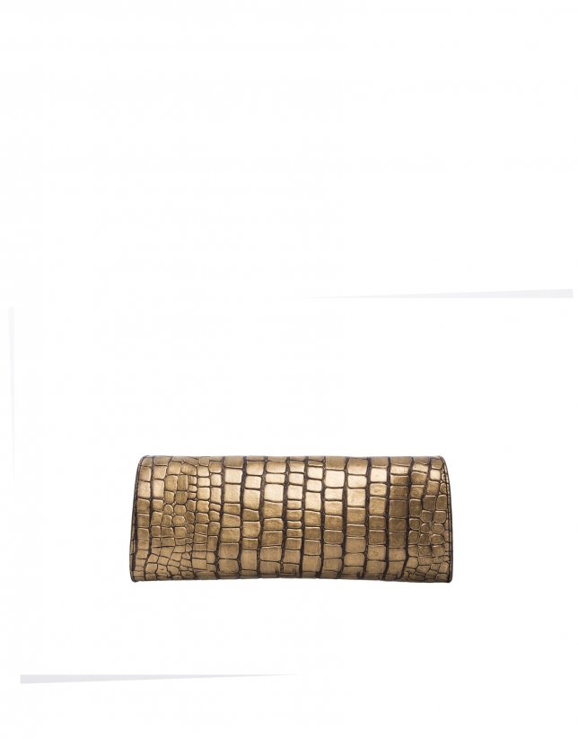 Bolso Clutch Bella Bronze piel grabado cocodrilo