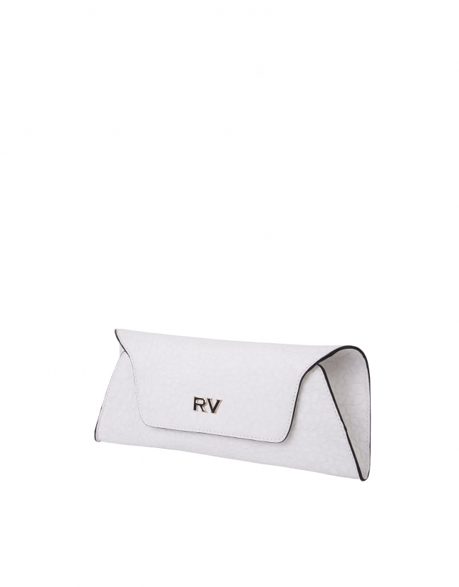White textured cowhide clutch bag
