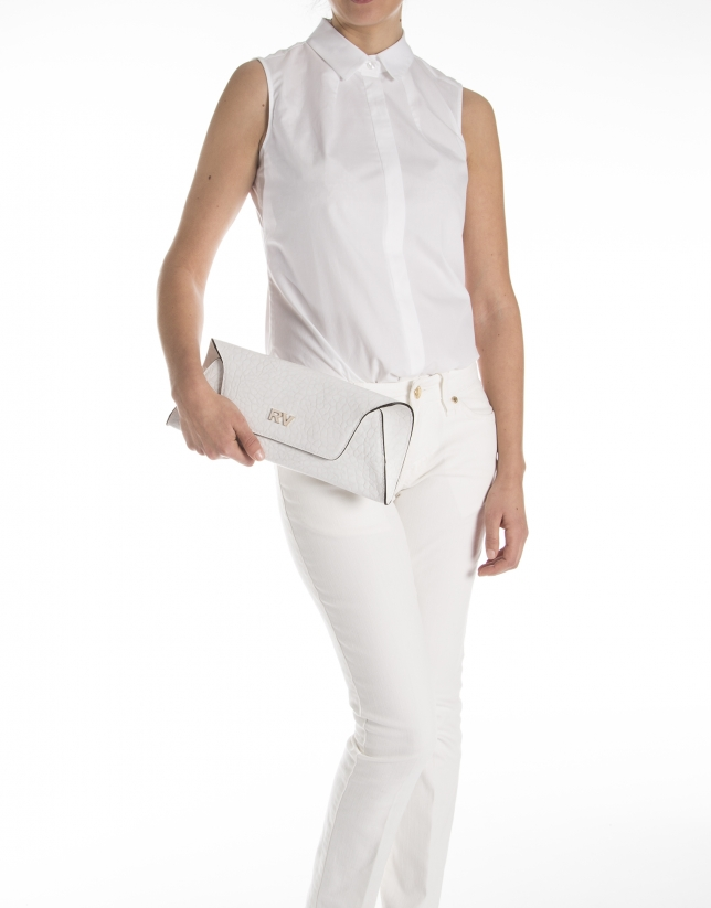 White textured cowhide clutch bag