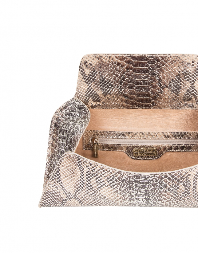 Python embossed leather clutch bag