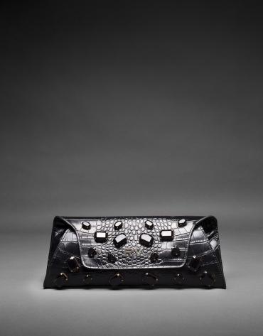 Clutch Bella cuir noir imprimé crocodile et fantaisie pierreries jais
