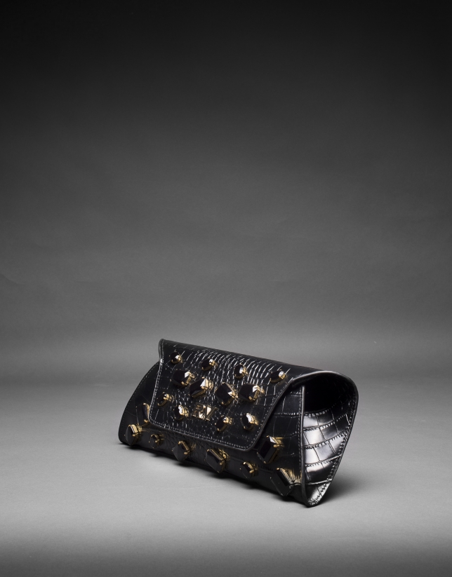 Black leather Bella bag with embossed alligator and jet fantasy stones