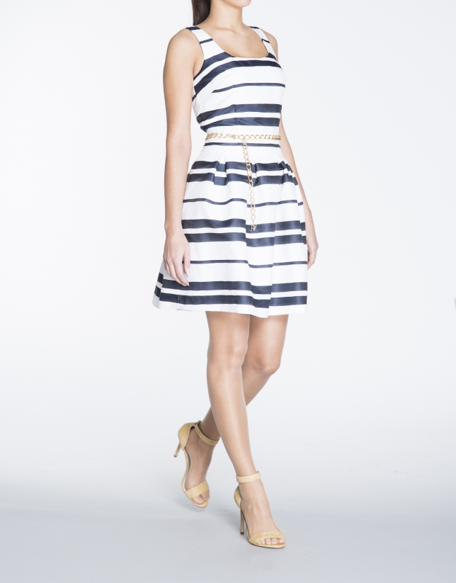 Blue and white horizontal striped halter top dress
