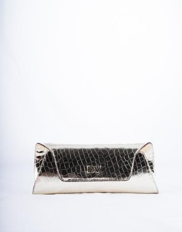 Light gold metallic and embossed alligator Bella clutch bag