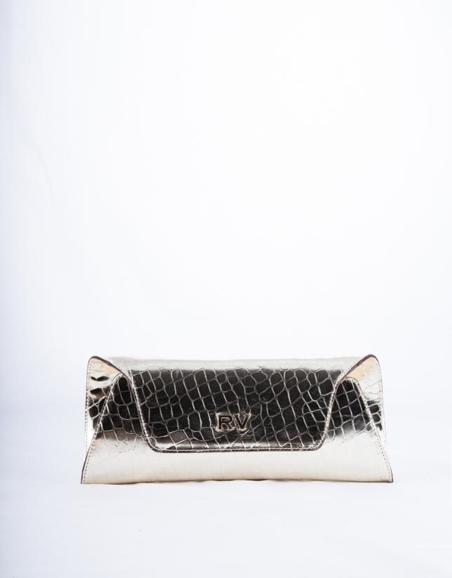 Bolso Clutch Bella piel metalizada dorado claro y grabado cocodrilo