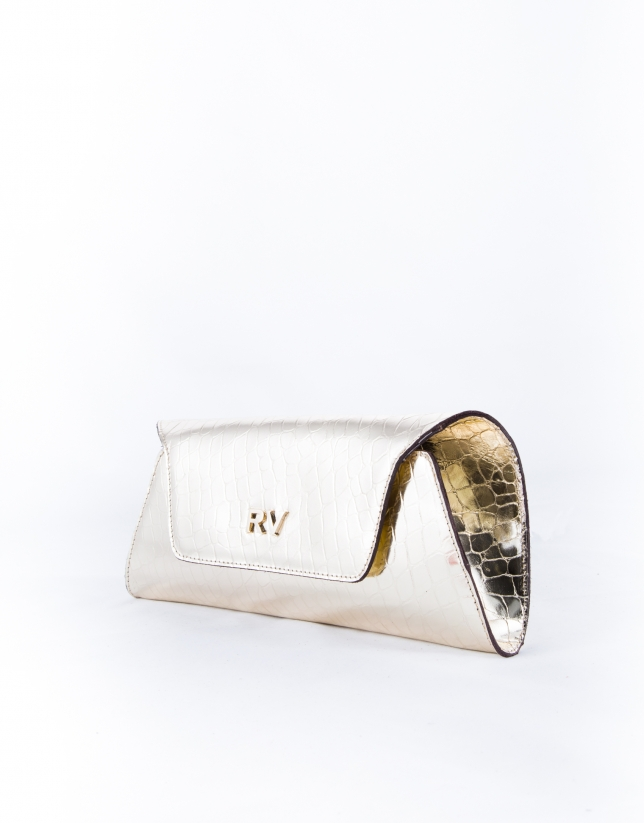 Bella : clutch en cuir vachette, métalisé doré clair et gravure crocodile