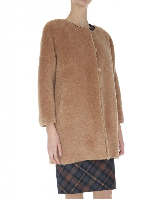 Manteau sans col en laine et alpaga beige