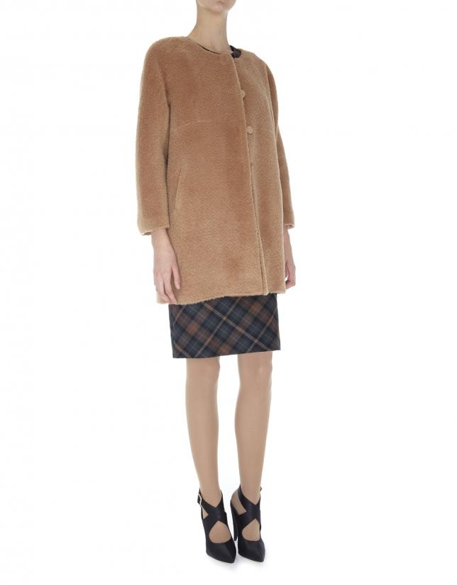 Abrigo sin cuello de lana y alpaca beige