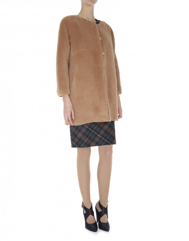 Beige wool and alpaca collarless coat
