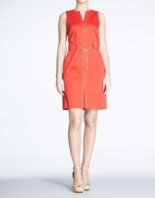 Geranium red cotton V-neck dress