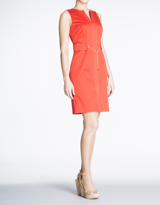 Geranium red cotton V-neck dress