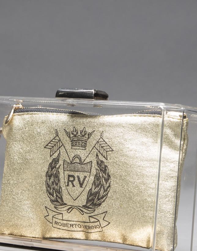 Bolso Diva en vinilo  transparente y monedero en tejido dorado