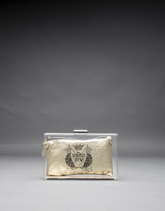 Clutch Diva vinyle transparent et porte-monnaie tissu or