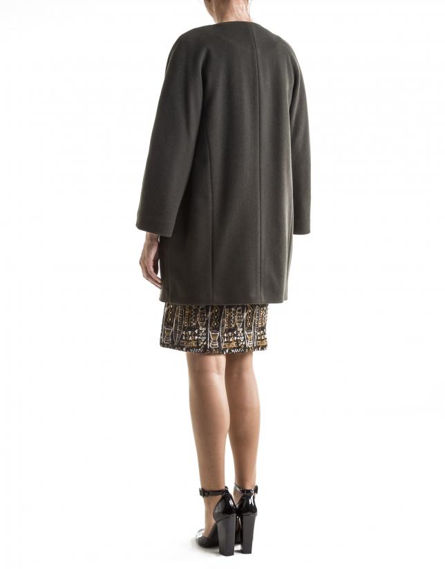 Abrigo sin cuello en lana y cashemire verde oscuro