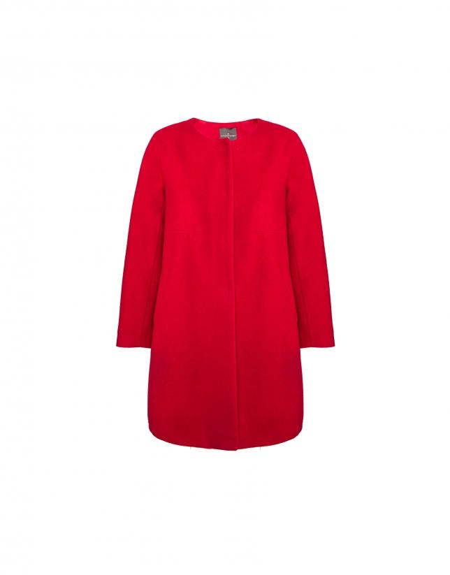 Abrigo sin cuello en lana y cashemire rojo