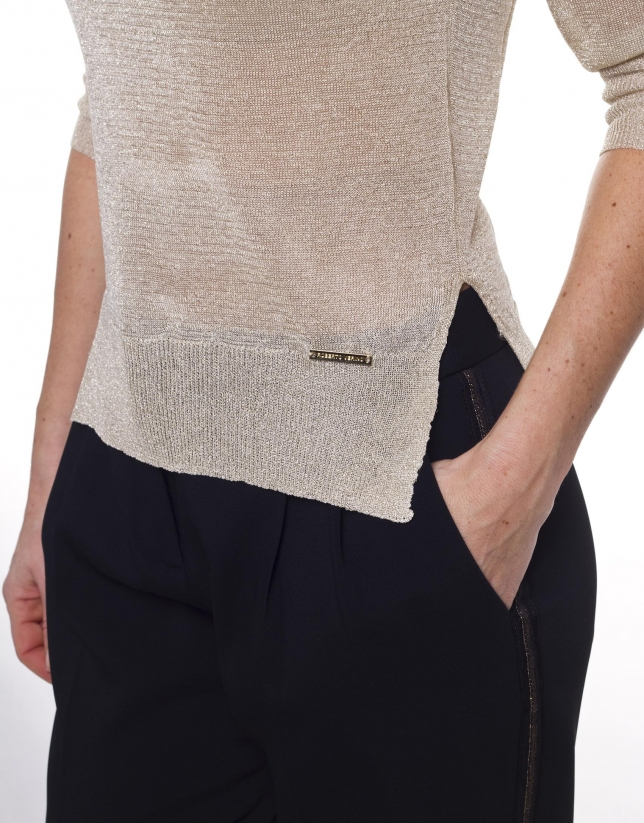 Jersey manga larga cuello redondo