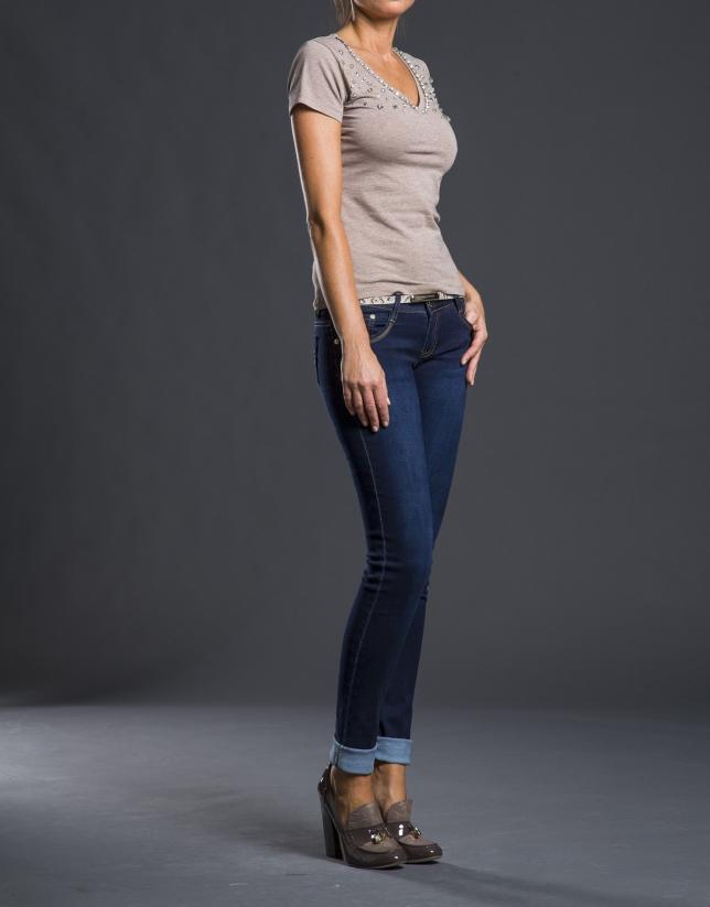 Beige V-neck, beaded t-shirt