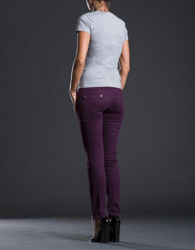 Tee-shirt col V pierreries gris
