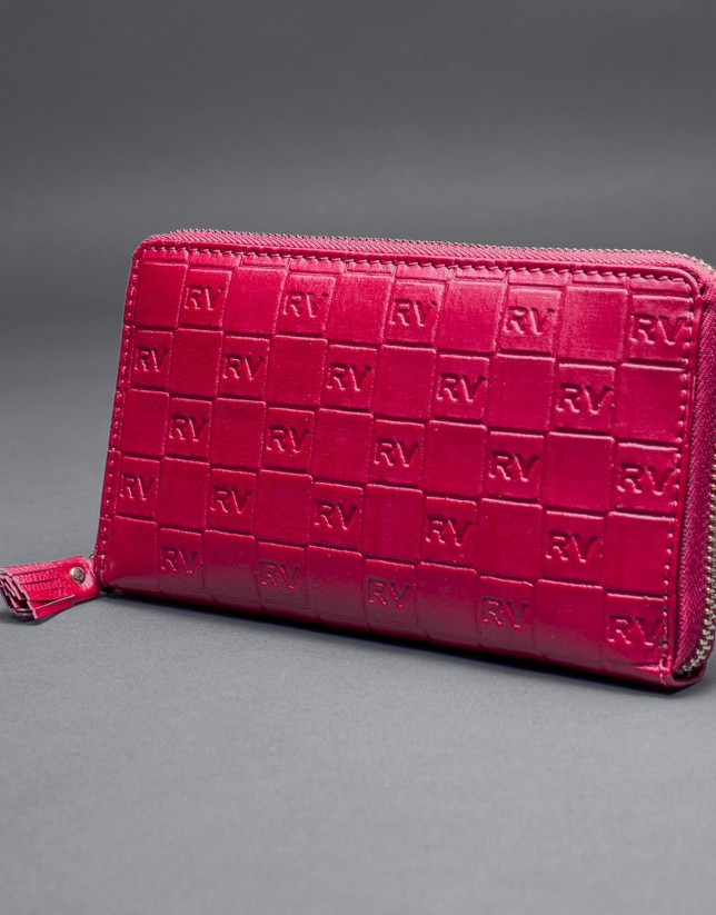 Red leather wallet with embossed RV