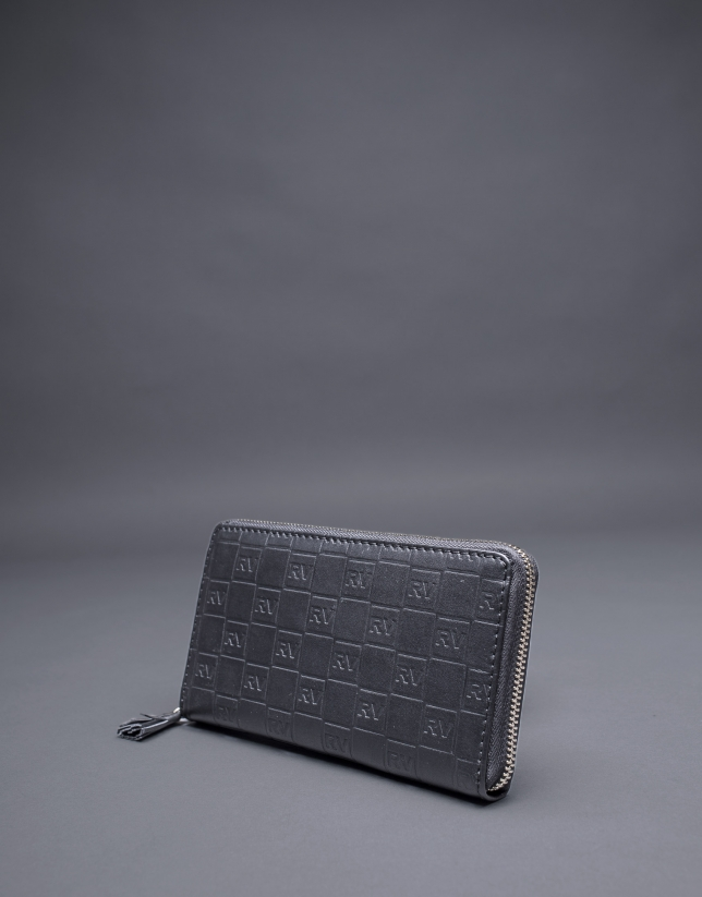 Black leather wallet embossed RV