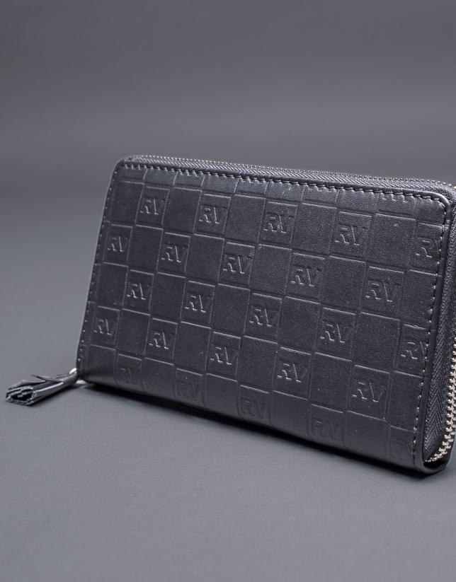 Portefeuille noir cuir gravure RV