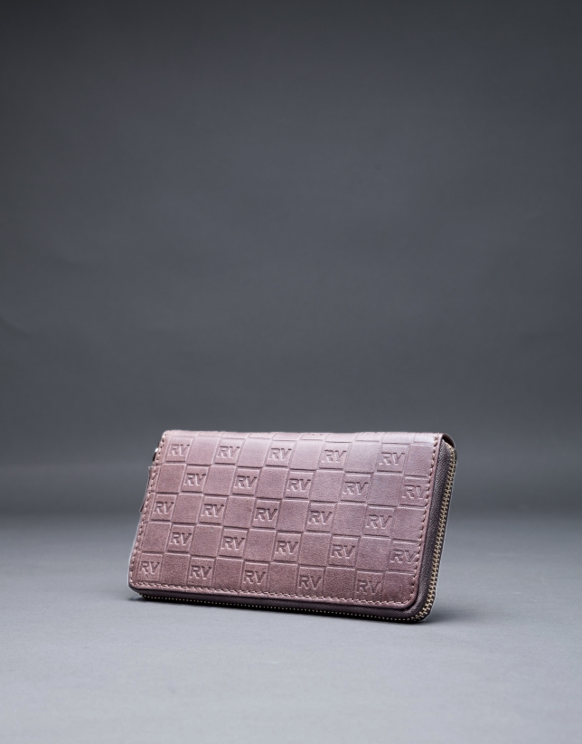 Brown leather wallet with embossed RV
