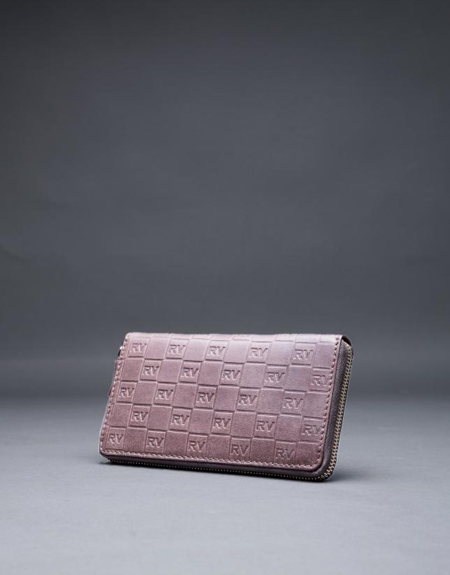 Portefeuille marron cuir gravure RV