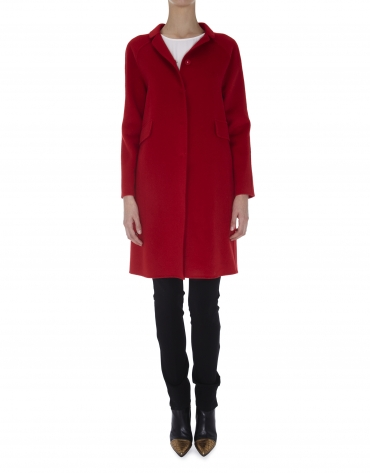 Red wool and angora double faced coat with Mao collar
