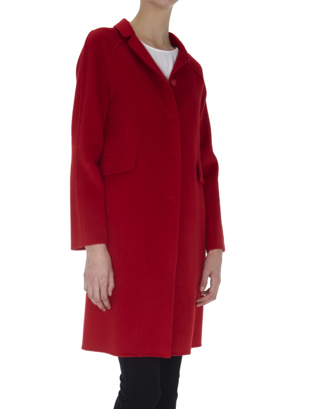 Abrigo cuello Mao de lana y angora doble faz rojo