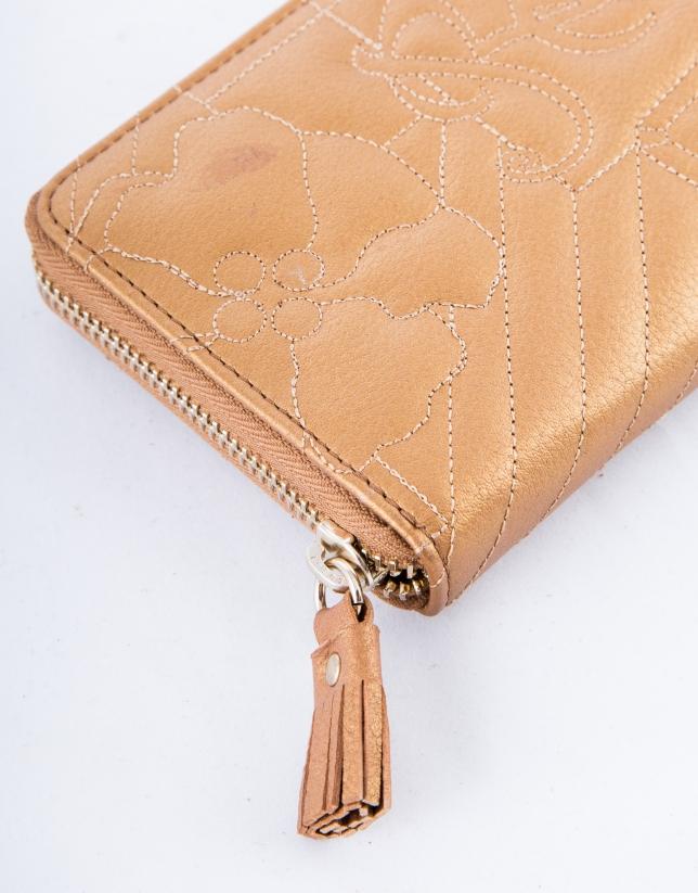 Porte-feuille VIP en cuir vachette, couleur bronze, gravure RV